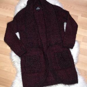 Angie Wine Red & Black Eyelash Fur Cardigan